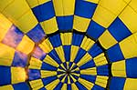 Looking up a hot air balloon