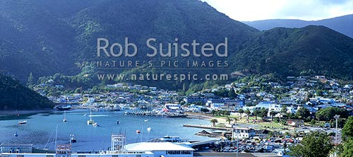 View over Picton town and port, at the head of Queen Charlotte Sound, Picton, Marlborough District, Marlborough Region, New Zealand (NZ) stock photo.