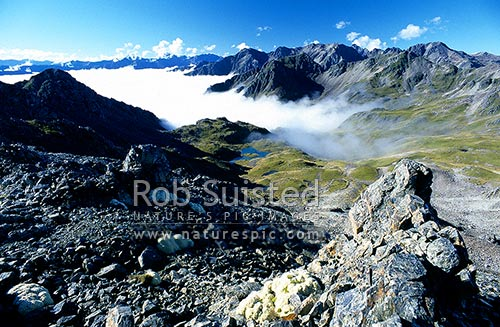 Looking into the 4th basin on Robert Ridge, en route to Lake Angelus. Above the morning cloud, Nelson Lakes National Park, Tasman District, Tasman Region, New Zealand (NZ) stock photo.