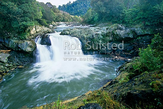 Motu River Falls; Motu, Motu, Waioeka, Gisborne District, Gisborne Region, New Zealand (NZ) stock photo.