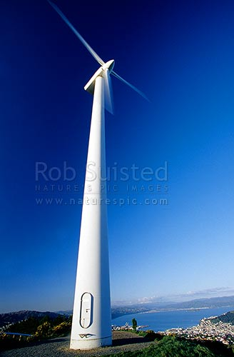 Wind turbine on Brooklyn hill. Original turbine installed in 1993, since upgraded, Wellington, Wellington City District, Wellington Region, New Zealand (NZ) stock photo.