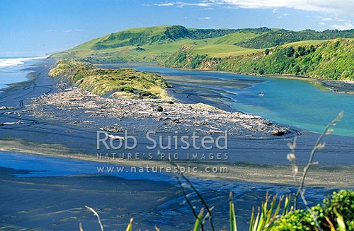 Awakino River mouth, North Taranaki, New Plymouth District, Taranaki Region, New Zealand (NZ) stock photo.