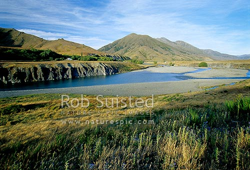 Historic Acheron Accommodation house by the Clarence River; Molesworth Station, Marlborough, Marlborough District, Marlborough Region, New Zealand (NZ) stock photo.