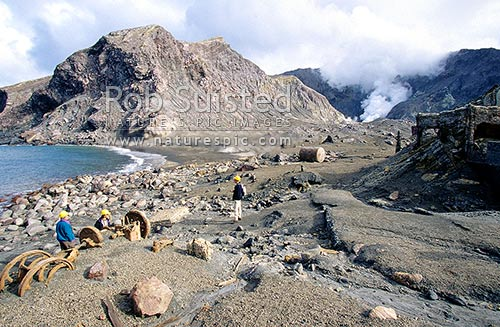 Remains of ill-fated sulphur mining business destroyed by lahar - White Island, active marine volcano, Bay of Plenty, Whakatane District, Bay of Plenty Region, New Zealand (NZ) stock photo.