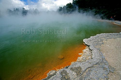 The famous hot spring 'Champagne Pool', Waiotapu Geothermal Area, near Rotorua, Rotorua, Rotorua District, Bay of Plenty Region, New Zealand (NZ) stock photo.