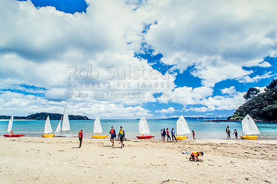 Kids yachting at Taipa - Doubtless Bay, Far north, Northland, Far North District, Northland Region, New Zealand (NZ) stock photo.