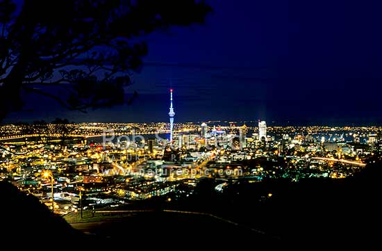 Auckland City and Sky Tower at night from Mount (Mt) Eden. Through trees, Auckland, Auckland City District, Auckland Region, New Zealand (NZ) stock photo.