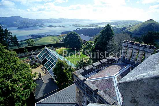 View of Otago Harbour from turret of Larnach Castle. Historic Building by William Larnach 1871-1876, Otago Peninsula, Dunedin City District, Otago Region, New Zealand (NZ) stock photo.