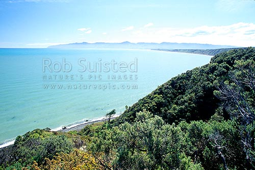 Overlooking Palliser Bay from near Te Kopi, Te Kopi, South Wairarapa District, Wellington Region, New Zealand (NZ) stock photo.