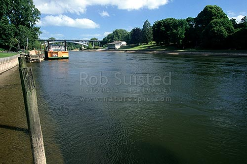 The Waikato River as it flows through Hamilton. The Waipa Delta paddle boat alongside, Hamilton, Hamilton City District, Waikato Region, New Zealand (NZ) stock photo.