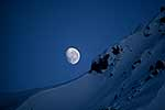 Moon over snow, Southern Alps