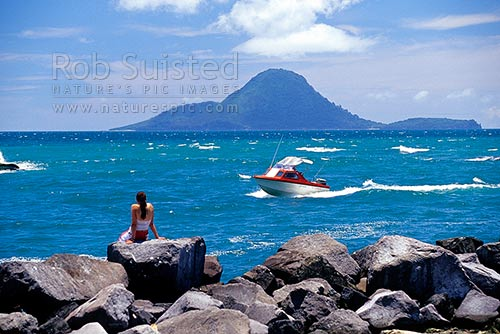 Motuhora (Whale) Island behind the Whakatane River Heads, Whakatane, Whakatane District, Bay of Plenty Region, New Zealand (NZ) stock photo.