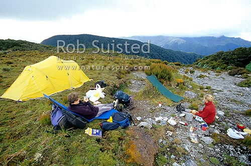 Alpine camping on Mount (Mt) Omega (1118m), Marchant Ridge, Southern Tararuas, Tararua Forest Park, New Zealand (NZ) stock photo.