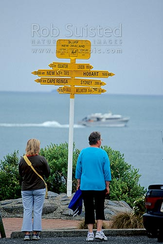 Famous sign at Stirling Point - Southern end of State Highway one, Bluff, Invercargill District, Southland Region, New Zealand (NZ) stock photo.