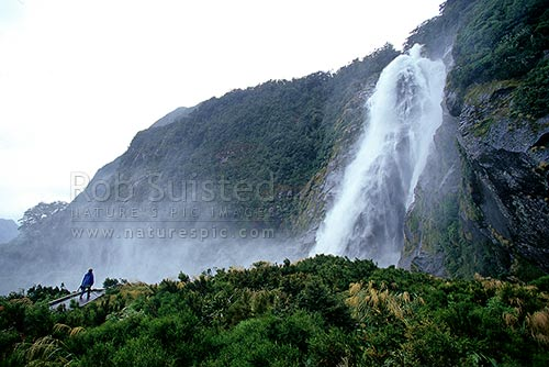 Bowen Falls (160m) near the head of Milford Sound. Fiordland National Park, Fiordland National Park, Southland District, Southland Region, New Zealand (NZ) stock photo.
