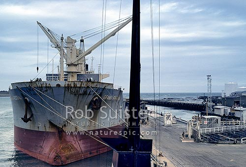 Large Phosphate ship unloading at the Port of Bluff, Bluff, Invercargill District, Southland Region, New Zealand (NZ) stock photo.