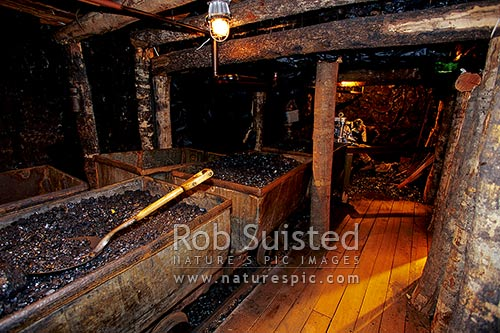 Coaltown mining Museum, showing underground historic coal mining scene, Wesport, Buller District, West Coast Region, New Zealand (NZ) stock photo.