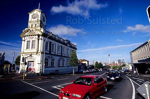 Ponsonby Post Office and Sky Tower with traffic, Auckland, Auckland City District, Auckland Region, New Zealand (NZ) stock photo.