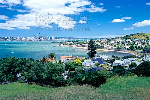 Devonport and Auckland City from North Head, Devonport, North Shore City District, Auckland Region, New Zealand (NZ) stock photo.