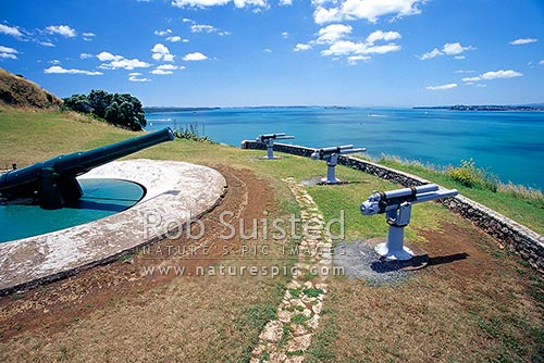North Head Reserve, historic disappearing gun emplacement and saluting guns. Hauraki Gulf beyond, Devonport, North Shore City District, Auckland Region, New Zealand (NZ) stock photo.
