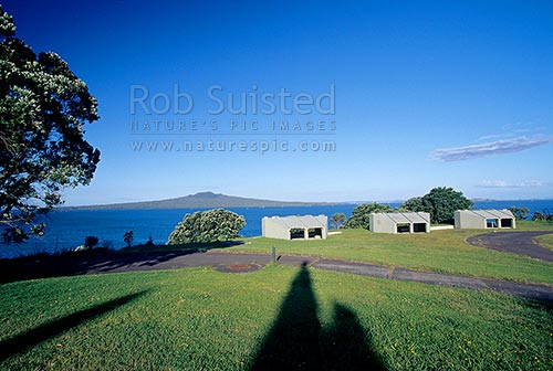 Historic Fort Takapuna - coastal defense building, Takapuna, North Shore City District, Auckland Region, New Zealand (NZ) stock photo.