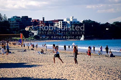 People playing on Takapuna Beach, Takapuna, North Shore City District, Auckland Region, New Zealand (NZ) stock photo.