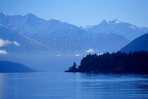 Mountain above Lake Wanaka. Winter, Wanaka, Queenstown Lakes District, Otago Region, New Zealand (NZ) stock photo.