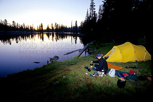 Hiking in Yosemite National Park. Camping at Sunrise Lakes as the sun sets. John Muir Trail, Yosemite National Park, USA, California Region, United States of America stock photo.