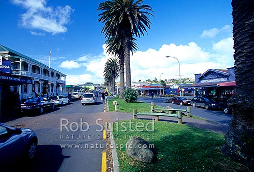 Main street in town of Raglan, Raglan, Waikato District, Waikato Region, New Zealand (NZ) stock photo.