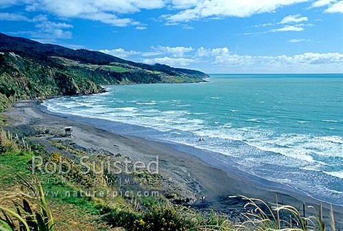 Ngarunui surf Beach, Raglan Coast, Raglan, Waikato District, Waikato Region, New Zealand (NZ) stock photo.