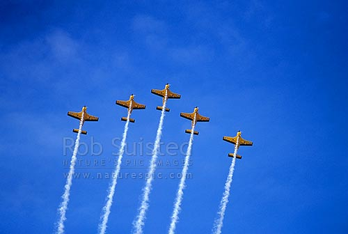 Royal New Zealand Air force Red Checkers aerial display team in pattern formation flying, Masterton, New Zealand (NZ) stock photo.
