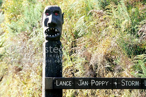 Novel Stewart Island gate post, Halfmoon Bay, Stewart Island District, Southland Region, New Zealand (NZ) stock photo.