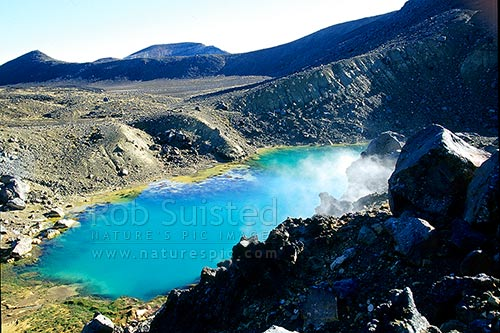 Steam fumaroles beside Emerald Lakes next to the Central crater of Mount Tongariro. Tongariro crossing great walk track, Tongariro National Park, Taupo District, Waikato Region, New Zealand (NZ) stock photo.