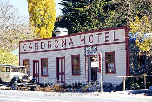 Historic Cardrona Hotel (established 1863) in the Cardrona Valley and Crown Range Road, Cardrona, Queenstown Lakes District, Otago Region, New Zealand (NZ) stock photo.