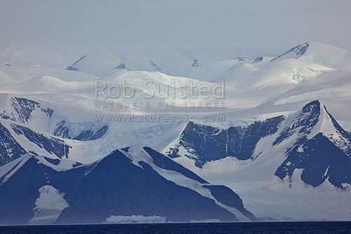 Admiralty Mountains seen from Robertson Bay, Borchgrevink Coast, Ross Sea. Victoria Land, Cape Adare, Ross Sea, Antarctica District, Antarctica Region, Antarctica stock photo.