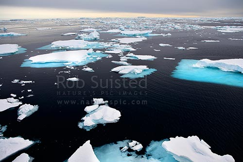 Pack ice on a calm southern ocean. 66 degrees South. Approx 66º 2' S 141º34' E, Commonwealth Bay, George V Land, Antarctica District, Antarctica Region, Antarctica stock photo.