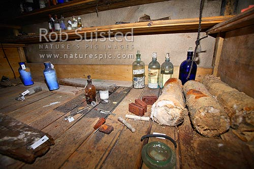 Artefacts and medicines inside Borchgrevink's 1899 Southern Cross Expedition huts, Ridley Beach, Cape Adare, Ross Sea, Antarctica District, Antarctica Region, Antarctica stock photo.