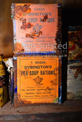 Artefacts and Symington's Pea Soup Rations inside Borchgrevink's 1899 Southern Cross Expedition huts, Ridley Beach, Cape Adare, Ross Sea, Antarctica District, Antarctica Region, Antarctica stock photo.
