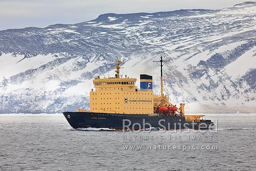 Kapitan Khlebnikov Icebreaker leaving Cape Adare, Cape Adare, Ross Sea, Antarctica Region, Antarctica stock photo.