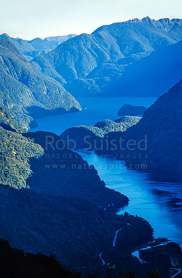 Looking down Doubtful Sound. Fiordland National Park, Fiordland National Park, Southland District, Southland Region, New Zealand (NZ) stock photo.