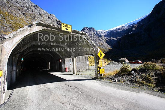 The Hollyford valley entrance portal of the Homer Tunnel enroute to Milford Sound. Homer Saddle centre, Fiordland National Park, Southland District, Southland Region, New Zealand (NZ) stock photo.
