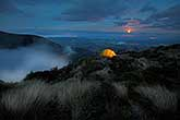 Alpine camping at twilight