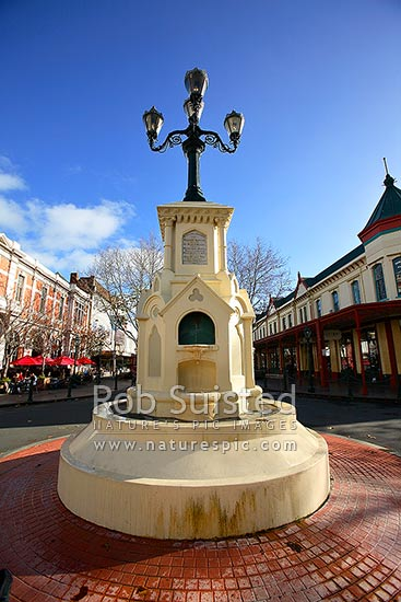 Historic 1881 William Hogg Watt water fountain on Victoria Avenue, Wanganui City, Wanganui District, Manawatu-Wanganui Region, New Zealand (NZ) stock photo.