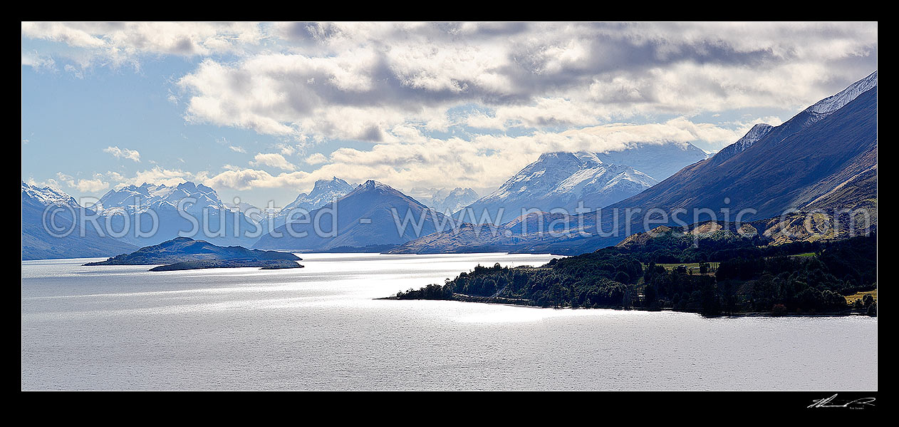 Image of Looking up Lake Wakatipu to Glenorchy and the Rees and Dart Rivers. Pig and Pigeon Islands. Panorama. 13000x2900, Queenstown, Queenstown Lakes District, Otago Region, New Zealand (NZ) stock photo image
