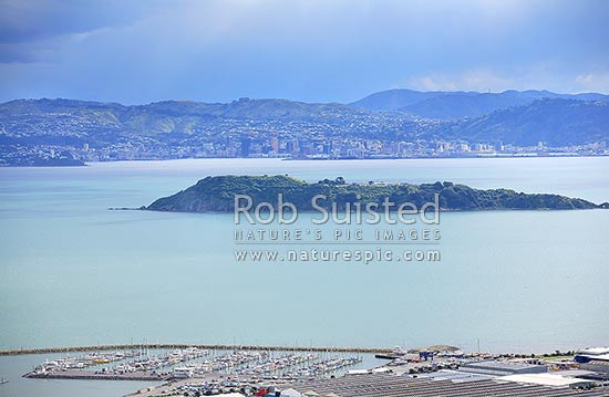 Southerly front looming over Wellington City and Matiu / Somes Island from the Wainuiomata Hill. Seaview Marina below, Wellington, Hutt City District, Wellington Region, New Zealand (NZ) stock photo.