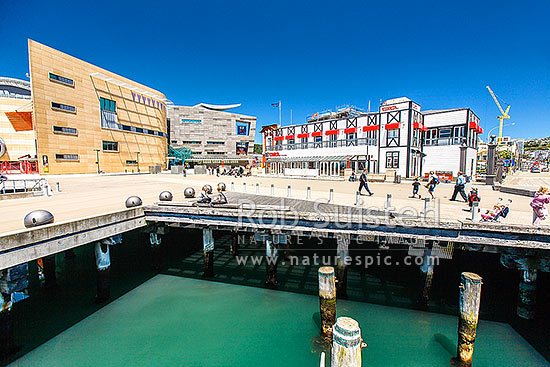 Wellington waterfront walkway bridge adjacent to the city lagoon. Te Papa Tongawera Museum of New Zealand and Circa Theatre in the background, Wellington, Wellington City District, Wellington Region, New Zealand (NZ) stock photo.