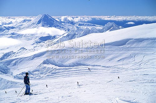Skiers on Mount (Mt) Ruapehu; Mount Ngauruhoe in background, Mt Ruapehu, Ruapehu District, Manawatu-Wanganui Region, New Zealand (NZ) stock photo.
