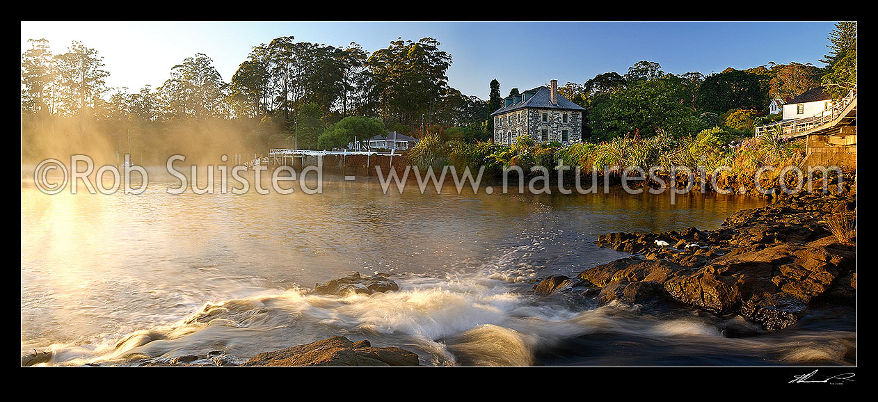 Image of Historic Stone Store (1832) and Mission Station Kemp House (1821). Early misty morning, Kerikeri Inlet Basin and River, Kerikeri, Far North District, Northland Region, New Zealand (NZ) stock photo image