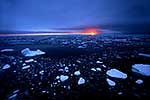 Antarctica sunset over sea & ice