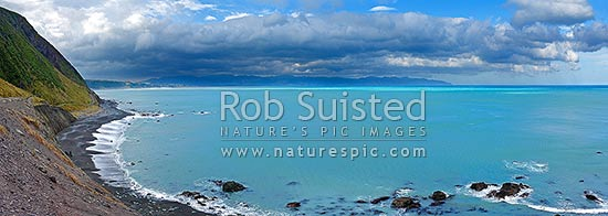 Panoramic view over Palliser Bay from near Ocean Beach, Palliser Bay, South Wairarapa District, Wellington Region, New Zealand (NZ) stock photo.